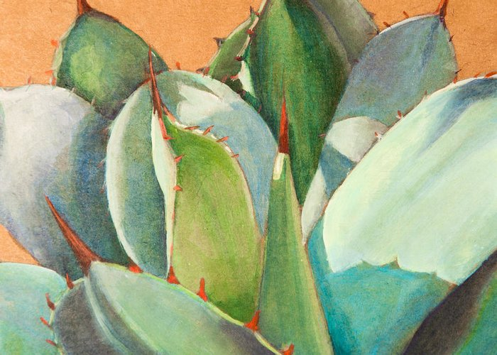 Agave Greeting Card featuring the painting Shadow Dance 2 by Athena Mantle