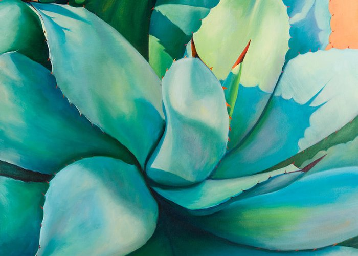 Agave Greeting Card featuring the painting Shadow Dance 5 by Athena Mantle