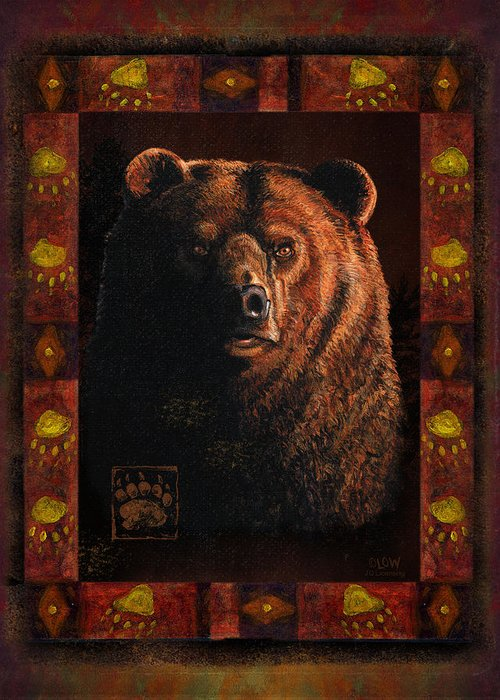 Wildlife Greeting Card featuring the painting Shadow Grizzly by JQ Licensing