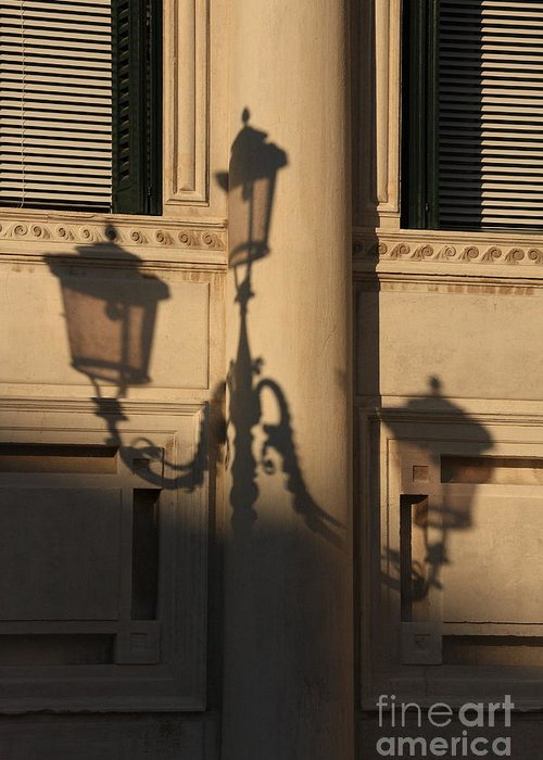 Venice Greeting Card featuring the photograph Shadow Of A Lamp Post In Venice by Michael Henderson