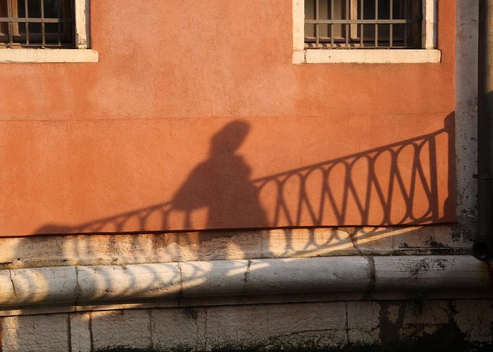 Venice Greeting Card featuring the photograph Shadow Of A Person Crossing The Shadow Of A Bridge In Venice by Michael Henderson