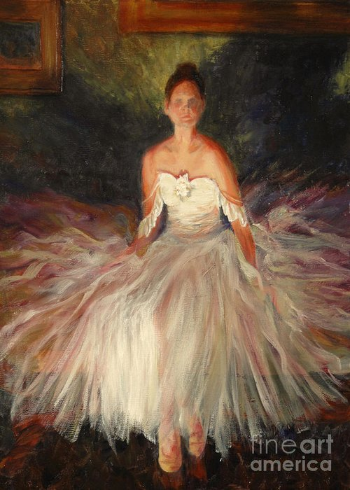 Figure Greeting Card featuring the painting Shadow of Grace by Colleen Murphy