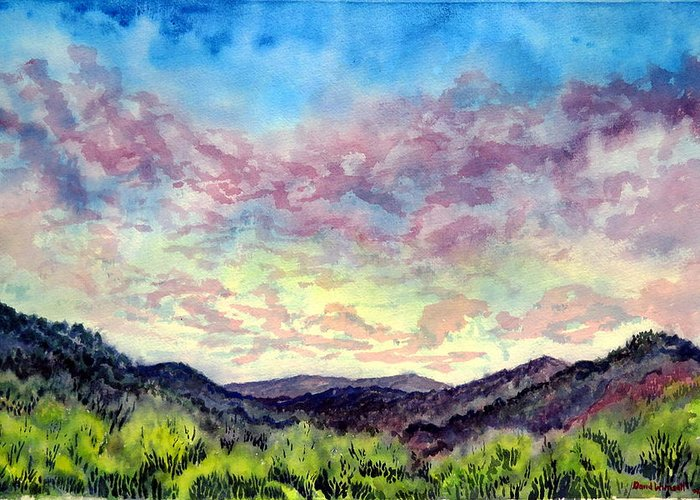 Valley Greeting Card featuring the painting Shadow Of The Valley by David Wimsatt