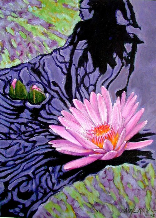 Water Lily Greeting Card featuring the painting Shadow Reflections by John Lautermilch
