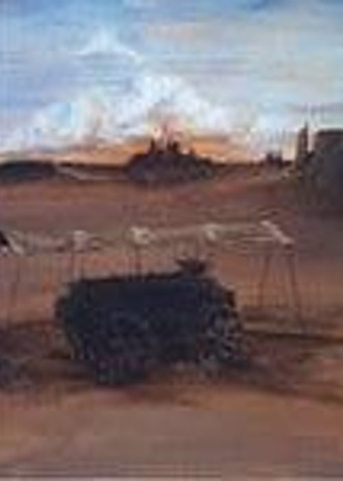 South Western Landscape Greeting Card featuring the painting Shadow Wagon by John Gibson