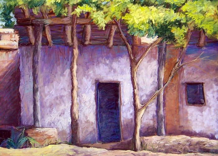 Landscape Greeting Card featuring the pastel Shadowed Ruins by Candy Mayer