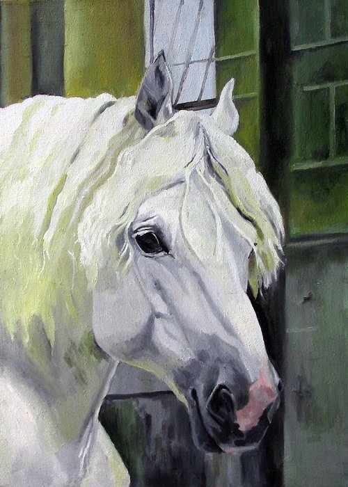Horse Greeting Card featuring the painting Shadowfax by Nel Kwiatkowska