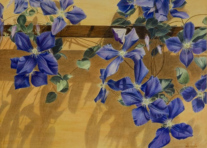 Clematis Greeting Card featuring the painting Shadows Dancing by Nik Helbig