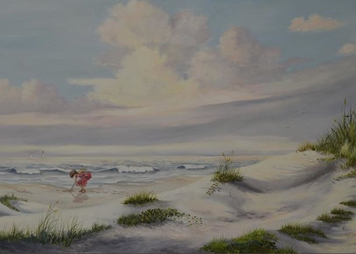 Landscape Greeting Card featuring the painting Shadows In The Sand Dunes by Wanda Dansereau