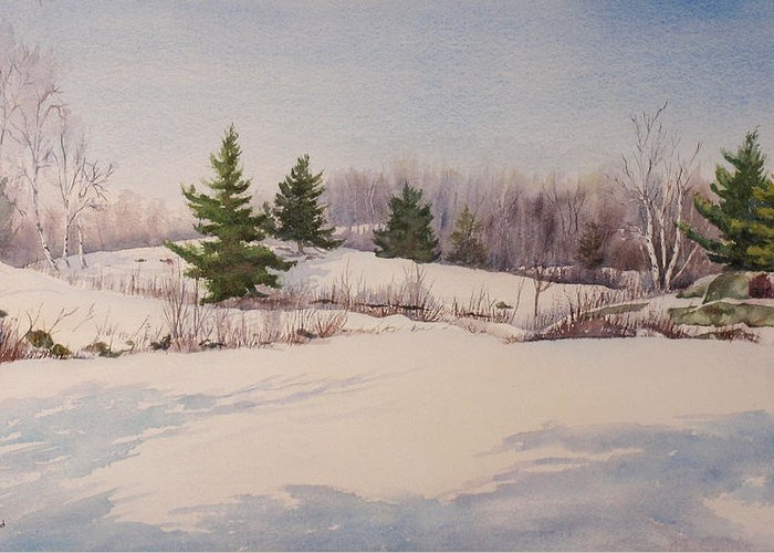 Shadows Greeting Card featuring the painting Shadows On Snow In The Canadian Shield by Debbie Homewood