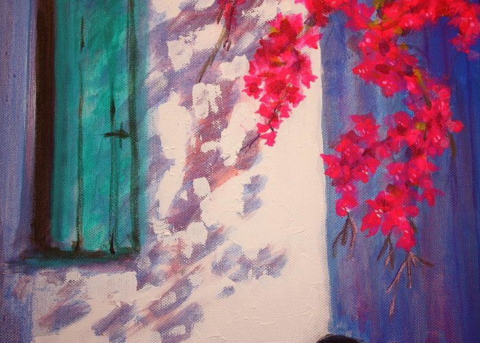 Shadows Greeting Card featuring the painting Shadows by Yvonne Ayoub