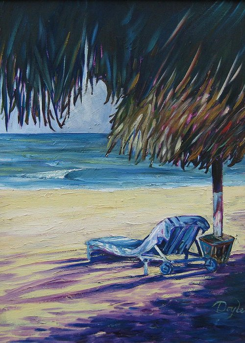 Beach Greeting Card featuring the painting Shady Beach by Karen Doyle