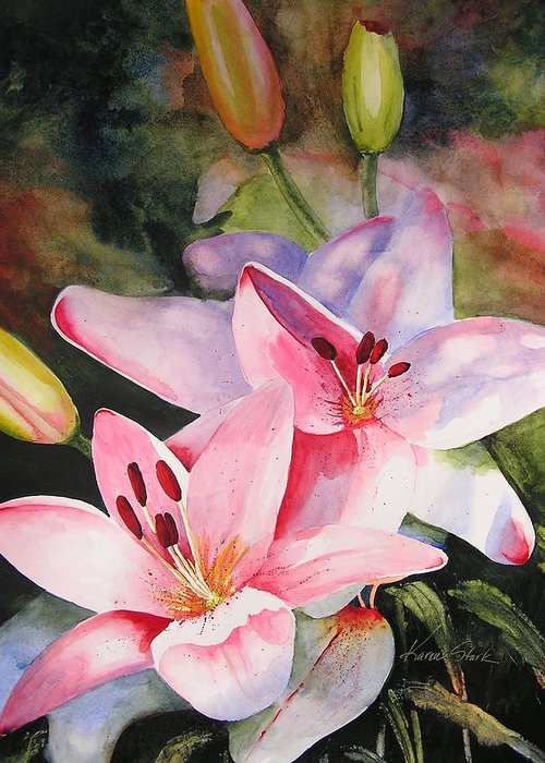 Lilies Greeting Card featuring the painting Shady Ladies by Karen Stark