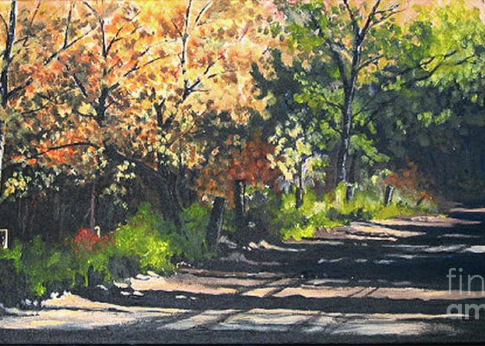 Nature Greeting Card featuring the painting Shady Lane by Diane Ellingham