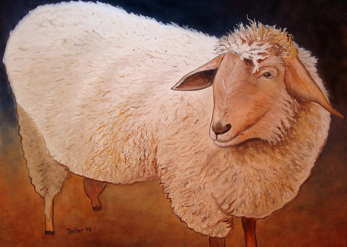 Animal Greeting Card featuring the painting Shaggy Sheep by Scott Plaster
