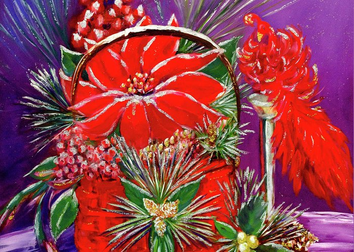 Christmas Painting Greeting Card featuring the painting Shake Off The Snow, And Come On In by Vicki VanDeBerghe