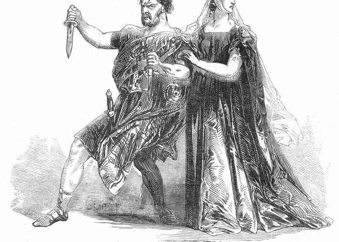 1845 Greeting Card featuring the photograph Shakespeare: Macbeth, 1845 by Granger