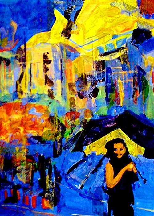 Artwork Greeting Card featuring the painting Shalom Manhattan by Maya Green