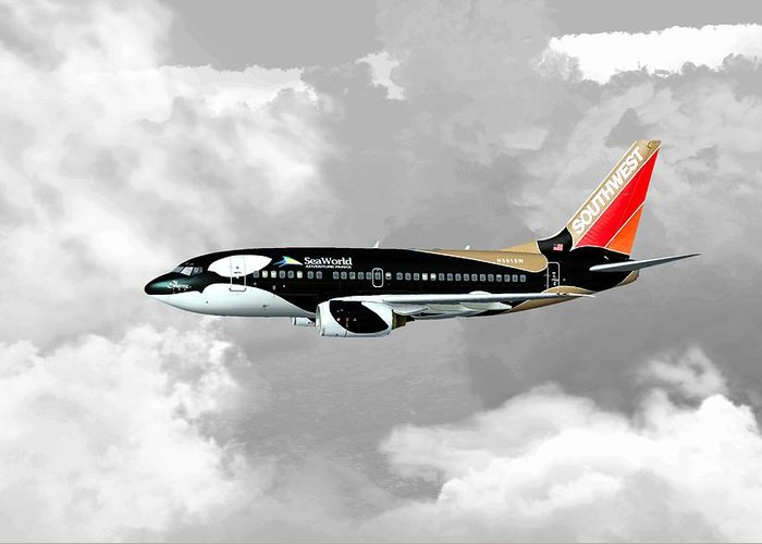 Aviation Greeting Card featuring the digital art Shamu 01 by Mike Ray
