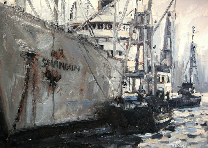 Boat Paintings Greeting Card featuring the painting Shanghai by Brian Simons
