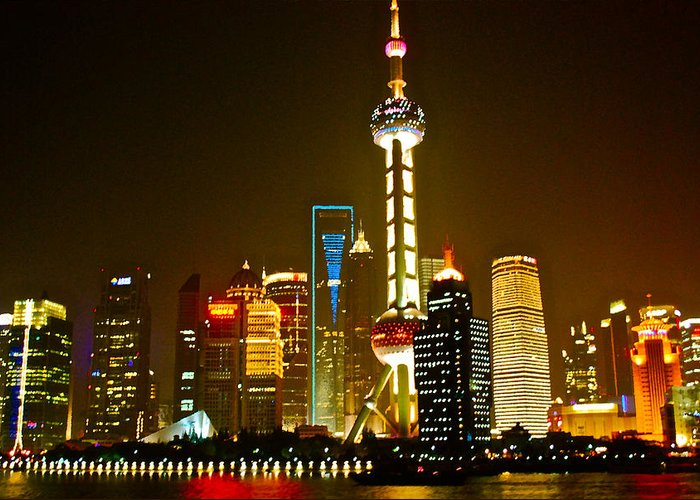 City By Night Greeting Card featuring the photograph Shanghai By Night by Dorota Nowak