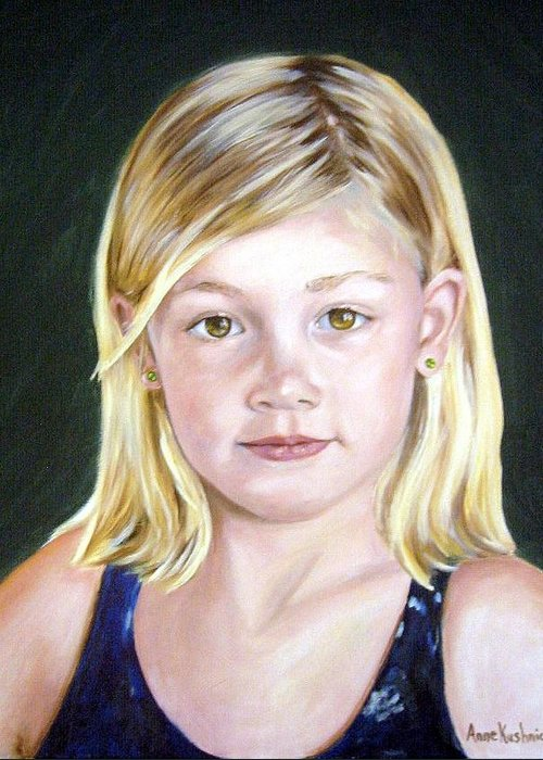 Portrait Greeting Card featuring the painting Shannon by Anne Kushnick