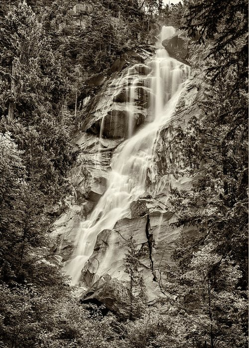 Shannon Falls Greeting Card featuring the photograph Shannon Falls - Bw by Stephen Stookey