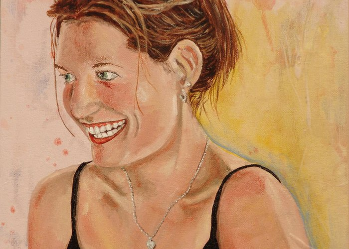 Kevin Callahan Greeting Card featuring the painting Shannon In Her Parents Kitchen by Kevin Callahan