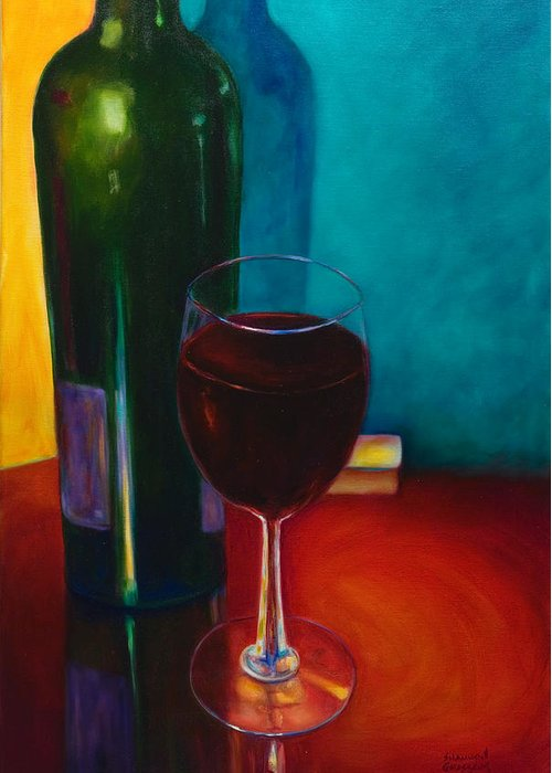 Wine Bottle Greeting Card featuring the painting Shannon's Red by Shannon Grissom