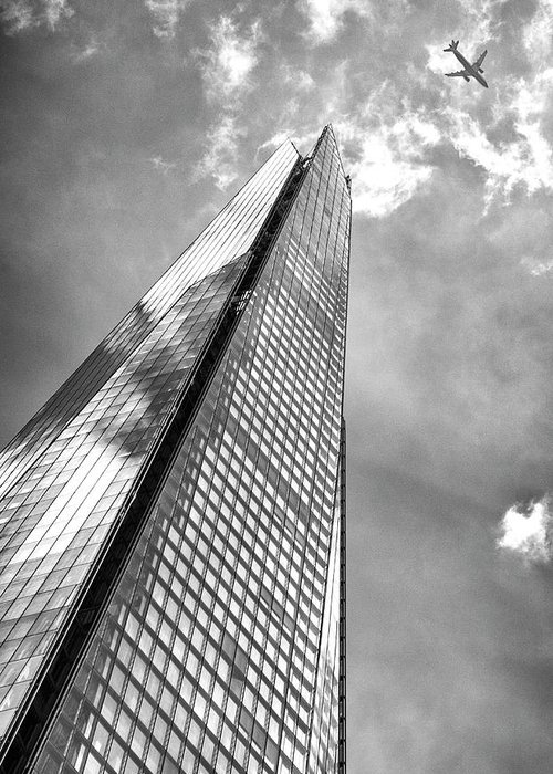 Shard Greeting Card featuring the photograph Shard, London In Black And White by Bruno Saski