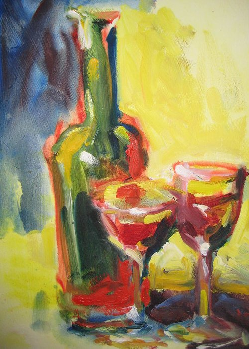 Wine Greeting Card featuring the painting Sharing The Wine by Susan Jenkins