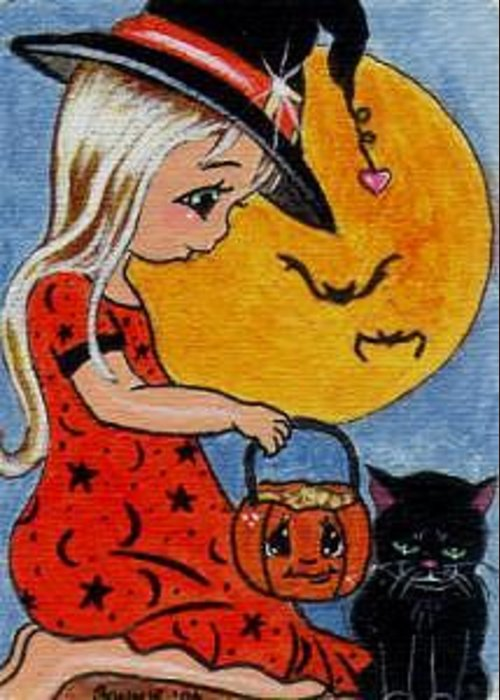 Mini Art Greeting Card featuring the painting Sharing Treats by Bonnie Brewer