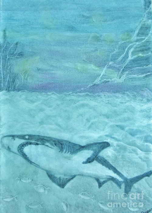 Beautiful Image Greeting Card featuring the painting Shark by Bozena Simeth