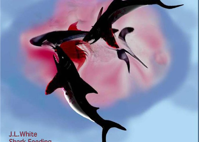 Shark Greeting Card featuring the digital art Shark Feeding by Jerry White