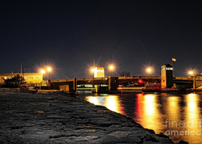 Shark Greeting Card featuring the photograph Shark River Inlet At Night by Paul Ward