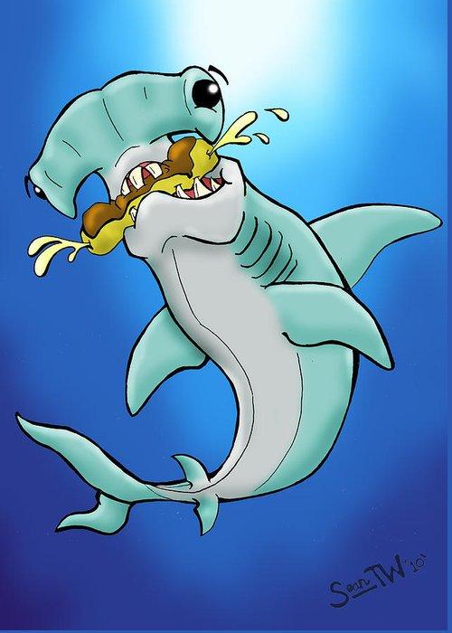 Sharks Greeting Card featuring the digital art Sharks That Eat Cake Hammerhead by Sean Williamson