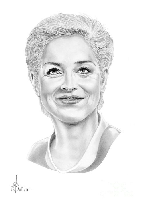 Drawing Greeting Card featuring the drawing Sharon Stone by Murphy Elliott