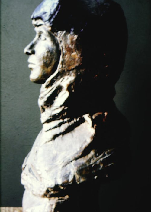 Firgutive Sculpture Sculptures Greeting Card featuring the sculpture Sharrinni by Sarah Biondo