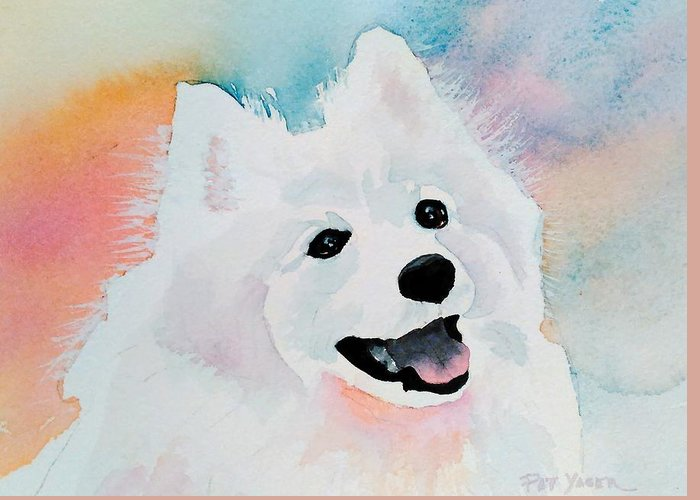 Samoyed Greeting Card featuring the painting Shasta, A Prince Of A Dog by Pat Yager