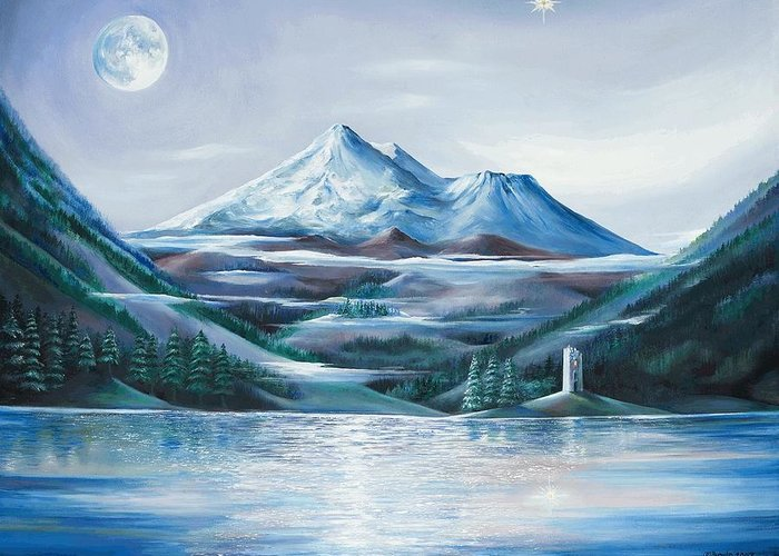 Mystical Landscape Greeting Card featuring the painting Shasta Water by Kathleen Boyle Magnuson