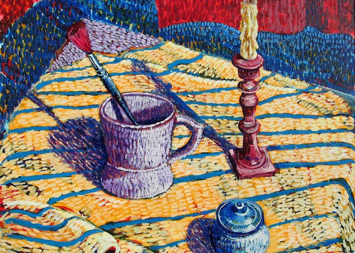 Still Life Greeting Card featuring the painting Shaving Mug by Rollin Kocsis