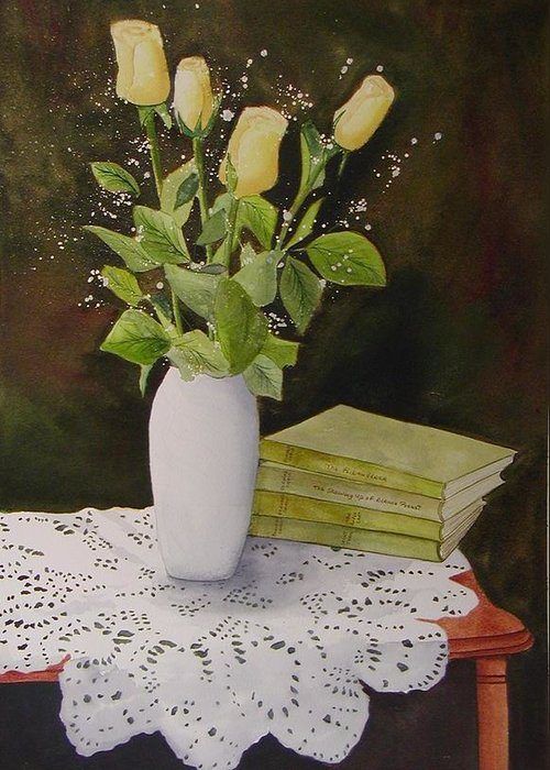 Watercolour Greeting Card featuring the painting Shaw And Yellow Roses by Sharon Steinhaus