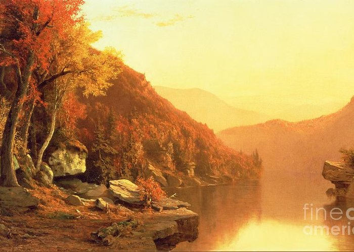 Shawanagunk Mountains Greeting Card featuring the painting Shawanagunk Mountains by Jervis McEntee
