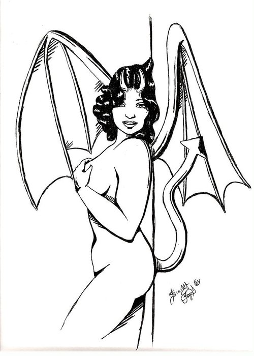 Devil Greeting Card featuring the drawing She Devil by Scarlett Royal