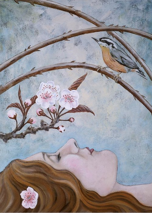 Red Created Nuthatch Greeting Card featuring the painting She Dreams The Spring by Sheri Howe
