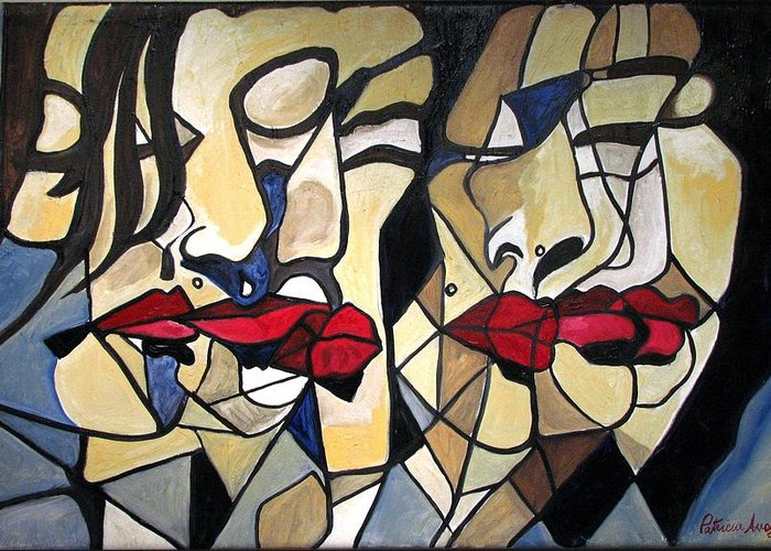 Abstract Greeting Card featuring the painting She Had Red Lips by Patricia Arroyo