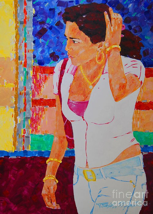 Figurative Greeting Card featuring the painting She Has Diamonds by Art Mantia