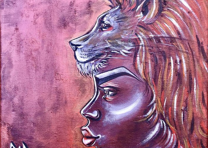 Lion Greeting Card featuring the painting She Has Goals by Artist RiA