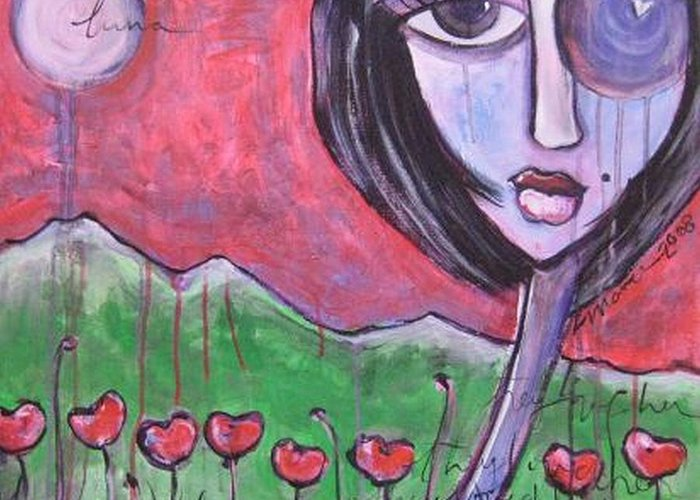 Poppies Greeting Card featuring the painting She Loved The Poppies by Laurie Maves ART