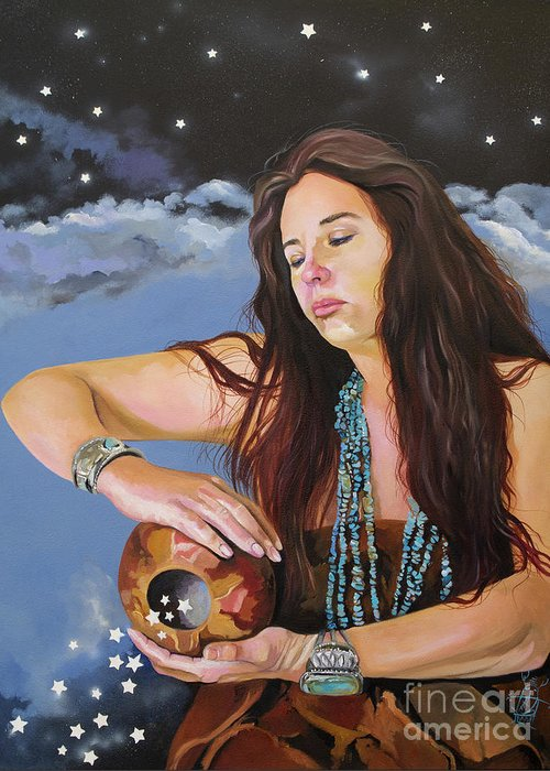 Medicine Woman Greeting Card featuring the painting She Paints With Stars by J W Baker